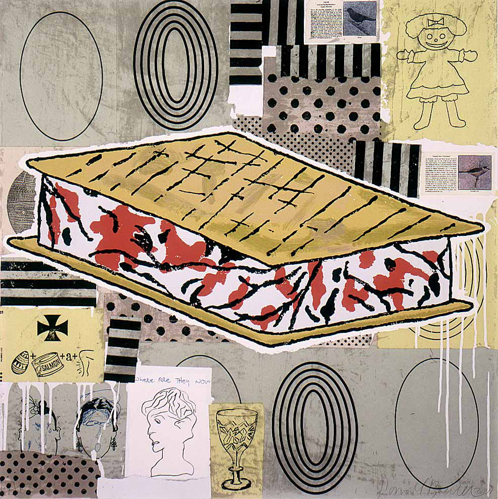 Donald Baechler - Untitled [Camouflage Sandwich (Cross Examination)], 2000, silkscreen