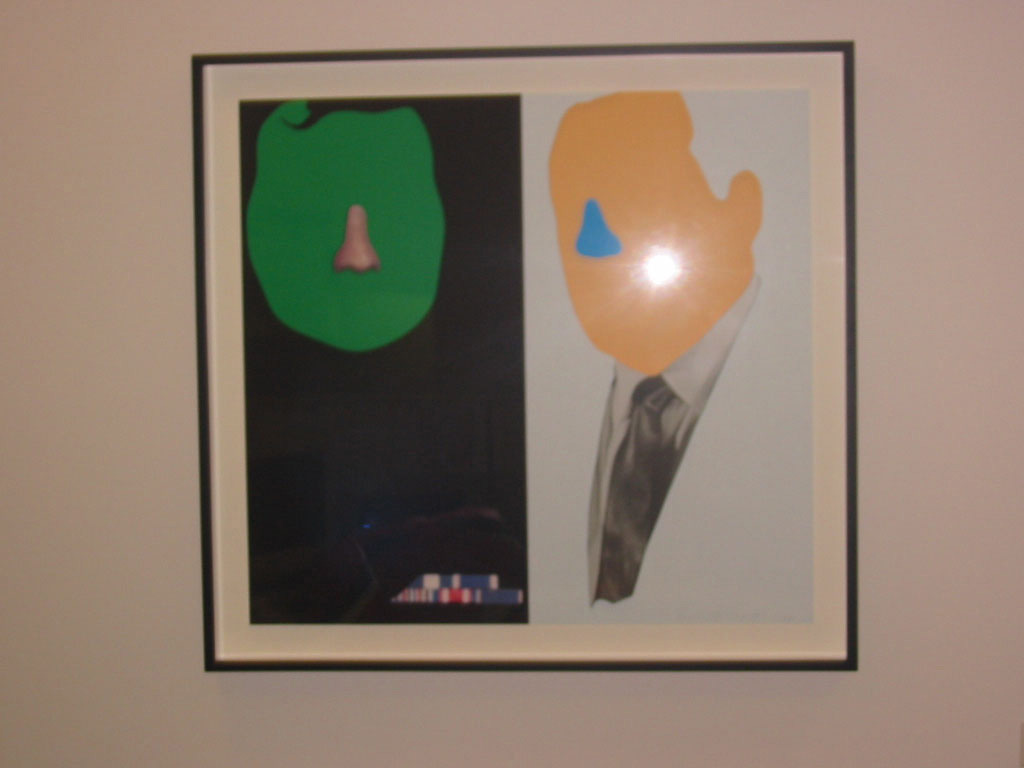 John Baldessari - Noses & Ears, Etc.:The Gemini Series: Two Faces, One with Nose and Military Ribbons; One with (Blue) Nose and Tie, 2006, three-layer, 14-color screenprint; mounted to Sintra and framed
