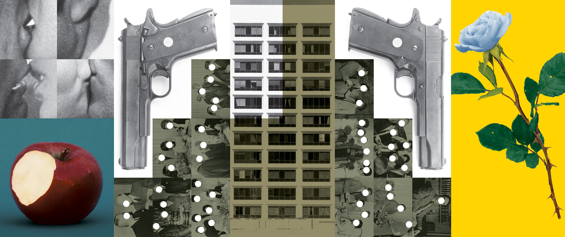 John Baldessari - Buildings=Guns=People: Desire, Knowledge, and Hope (with Smog), 1985, black-and-white and color photographs with vinyl paint and oil tint, mounted on five panels