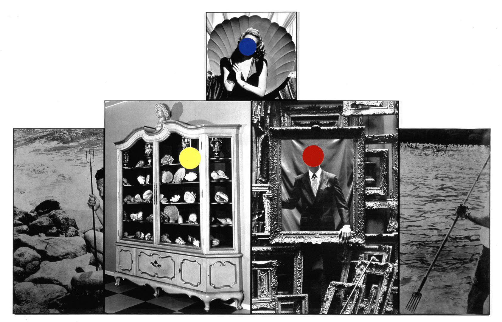John Baldessari - Seashells/Tridents/Frames, 1988, five black and white photographs with oil tint and vinyl paint