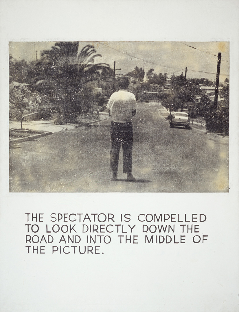 John Baldessari - The Spectator Is Compelled..., 1967 - 1968, photographic emulsion and acrylic on canvas