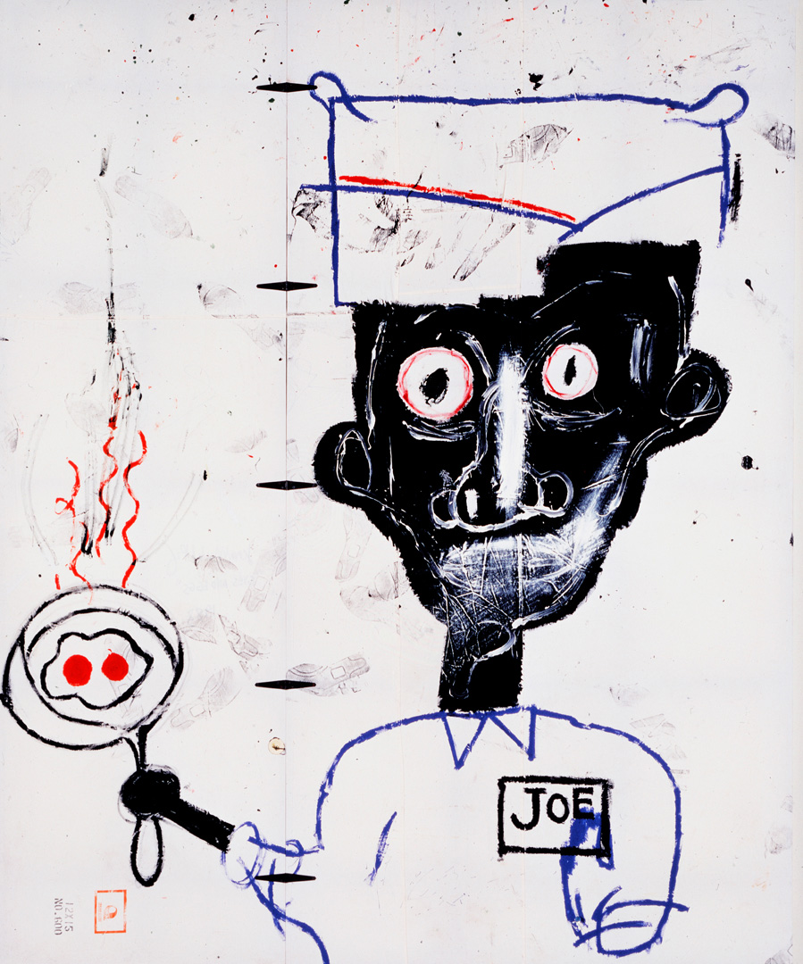 Jean‐Michel Basquiat - Eyes and Eggs, 1983, acrylic, oilstick and paper collage on cotton drop cloth with metal hinges