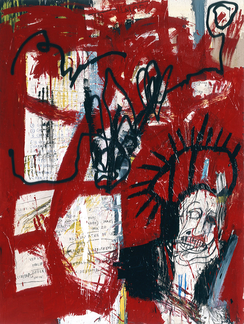 Jean‐Michel Basquiat - Untitled, 1981, acrylic, oilstick, paper collage and spray paint on canvas