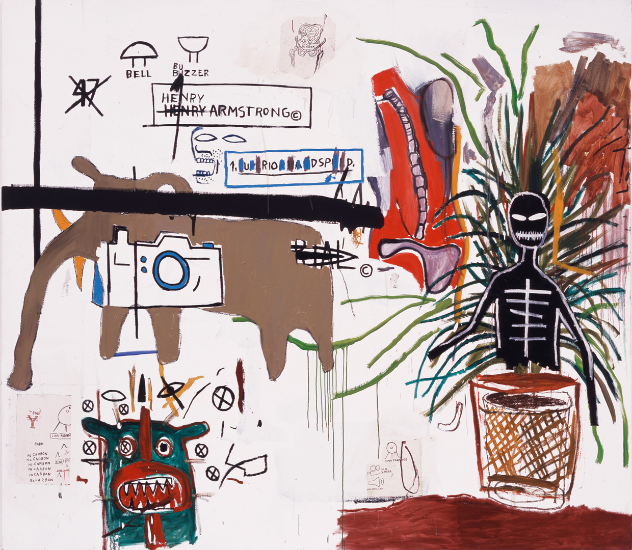 Jean‐Michel Basquiat - Wicker, 1984, acrylic, oilstick and xerox collage on canvas