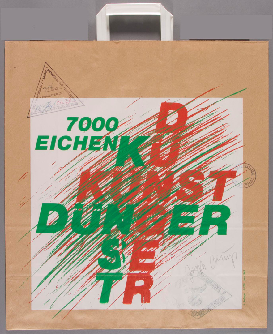 Joseph Beuys - 7000-Eichen-Tüte, 1982, paper shopping bag, with several stamps