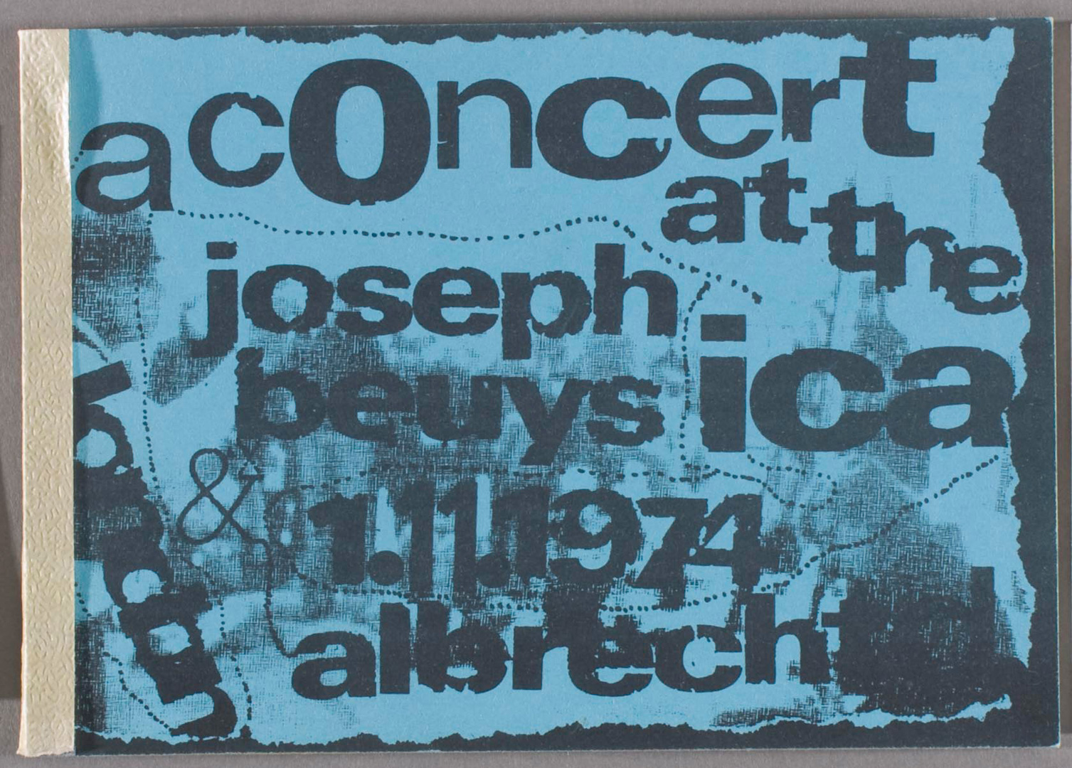 Joseph Beuys - A Concert at the ICA, 1975, long-playing record by Albrecht D. and Joseph Beuys; silkscreen sleeve and supplementary booklet