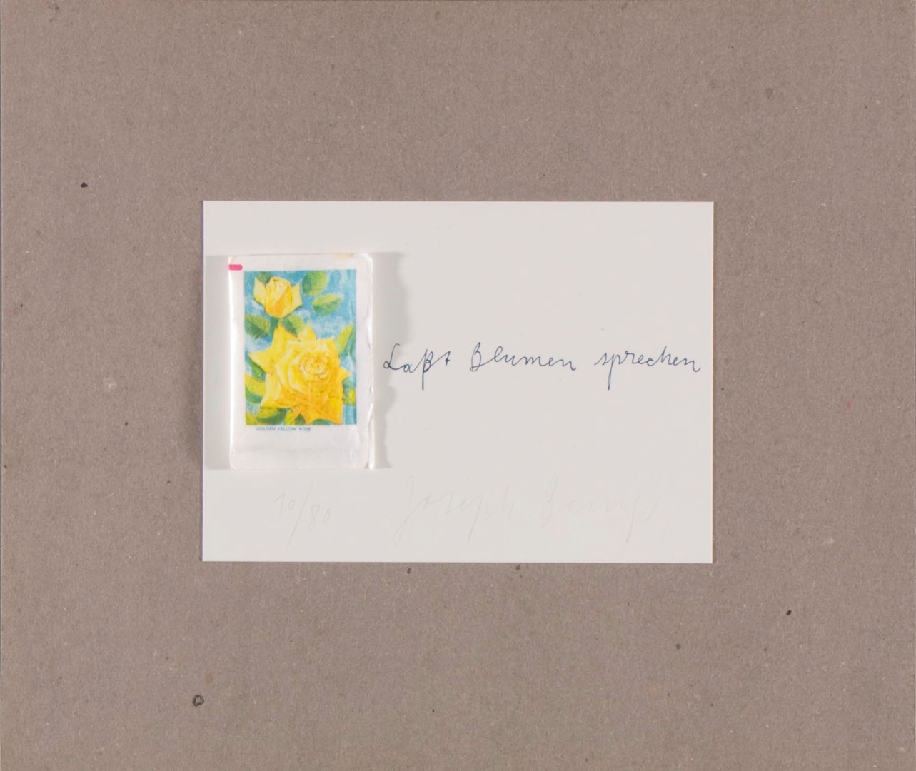 Joseph Beuys - Blumenzucker, 1974, postcard mounted on gray cardboard with attached sugar envelope
