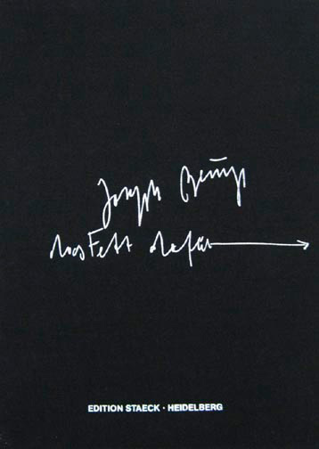 Joseph Beuys - das Fett dafür, 1985, pages worked over with fat and pencil; exhibition catalogue, Kunst in der Bundesrepublik Deutschland 1945-1985, pages 241-245; in cloth box