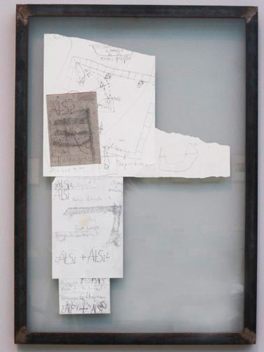 Joseph Beuys - DM 90,000, 1982, facsimile prints in iron frame with glass