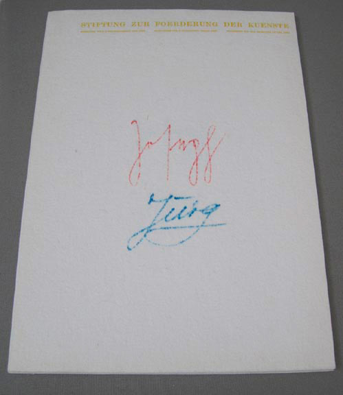 Joseph Beuys - Filzbriefe, 1974, five pieces of white felt with printed letterhead and inscription by Jürg Brodmann and Joseph Beuys