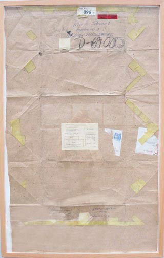 Joseph Beuys - gelbe Bilder, 1977-1985, used packing paper, with handwritten addition, stamped