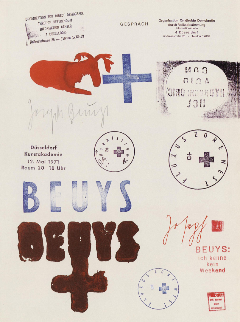 Joseph Beuys - Gespräch, 1974, drawing in watercolor, ink and stamps on page 5 of the book JOSEPH BEUYS - Zeichnungen I, 1947-1959