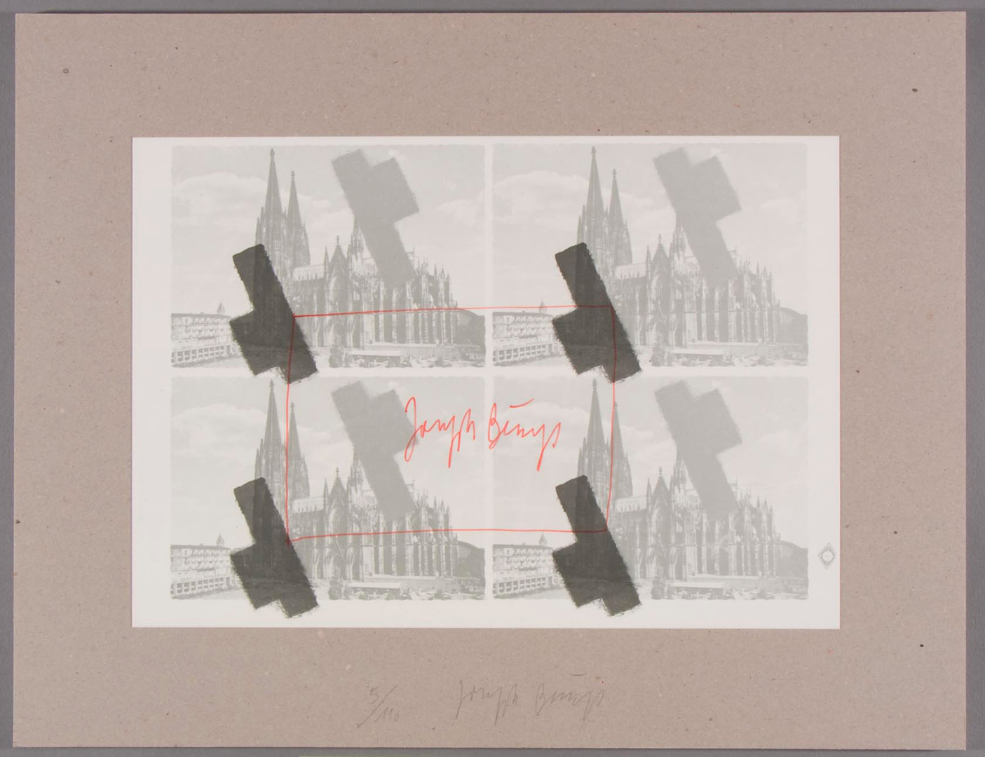 Joseph Beuys - halbiertes Filzkreuz über Köln, 1977, misprintings of postcards. Offset, with handwritten additions, mounted on gray cardboard