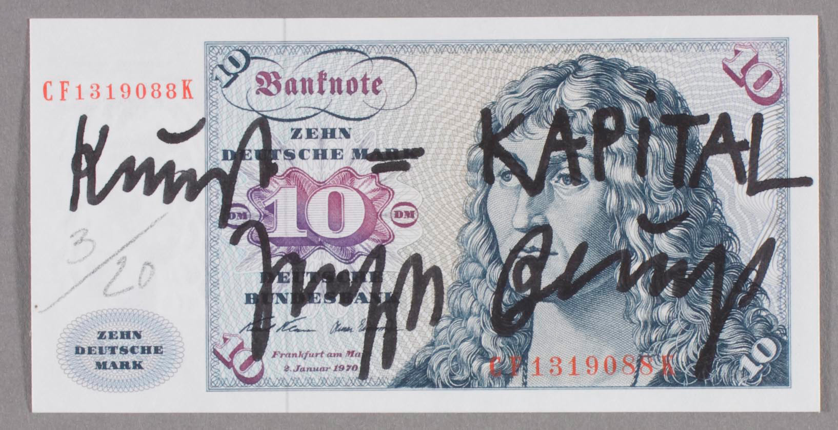 Joseph Beuys - Kunst=CAPITAL, 1979, banknote with handwritten addition