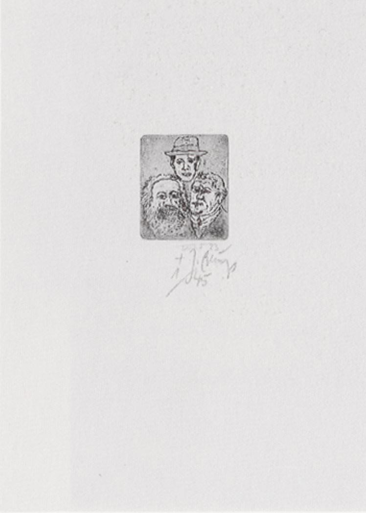 Joseph Beuys - Marx-Luther-Jahr, 1983, etching by Rainer Luck