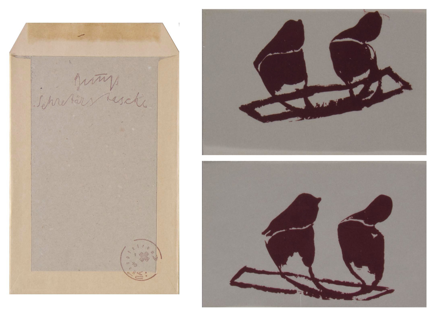 Joseph Beuys - Sekretärstasche, 1981, mailing envelope, stamped, prints on plastic sheet mounted in book