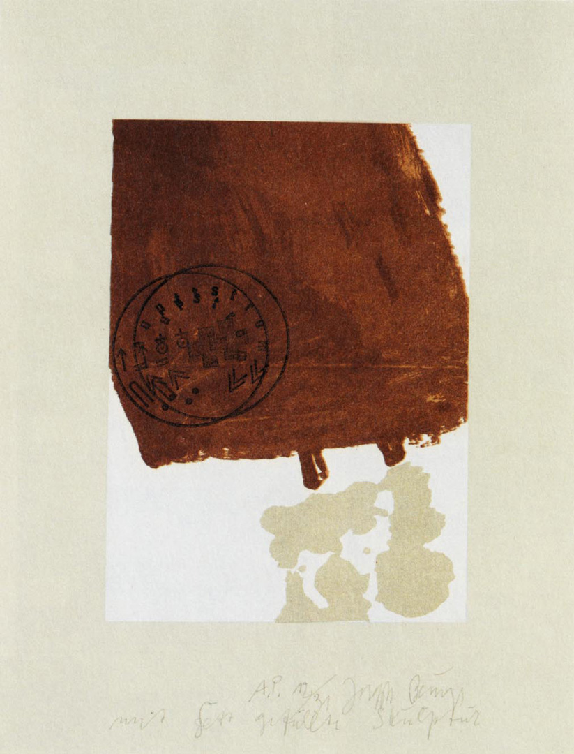 Joseph Beuys - Suite Schwurhand: mit Fett gefüllte Skulptur, 1980, aquatint and lithograph on paper laid down on gray Rives wove