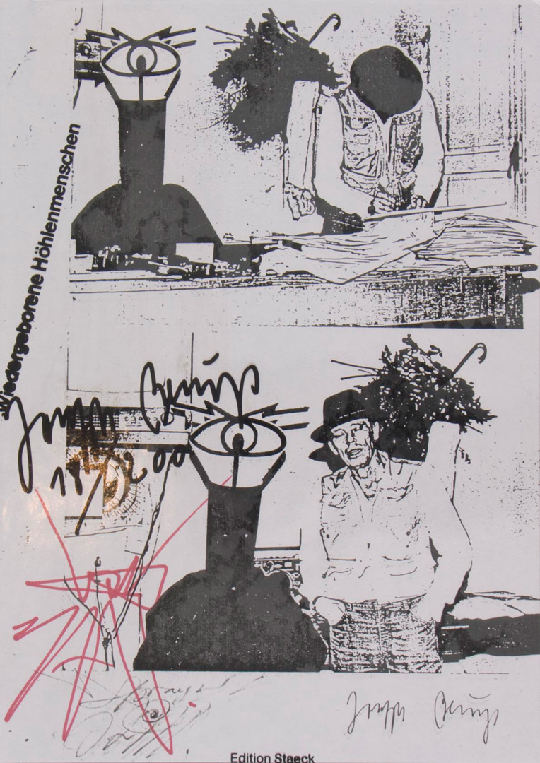 Joseph Beuys - Wiedergeborene Höhlenmenschen, 1983, photocopy, with drawing by Harald Naegeli, in clear plastic sleeve