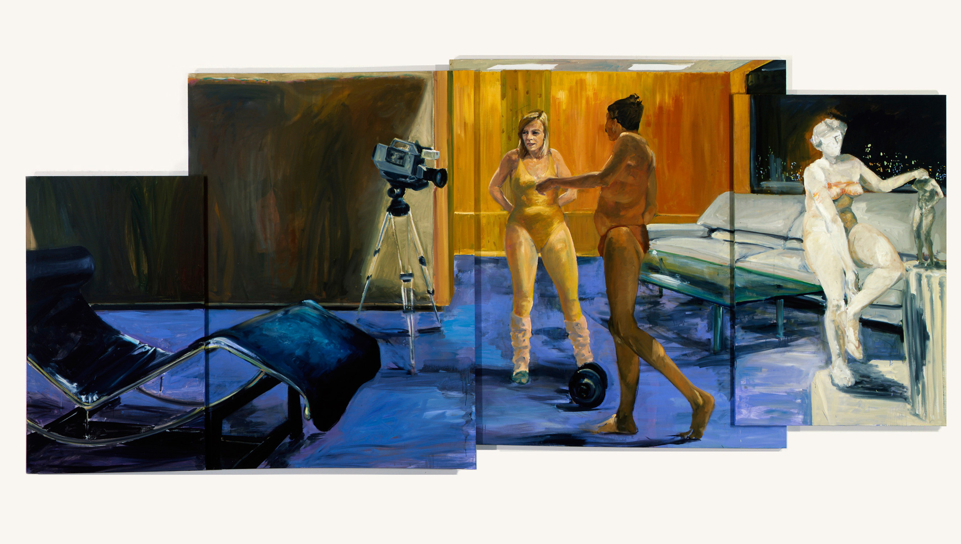 Eric Fischl - Fort Worth, 1985, oil on four canvas panels
