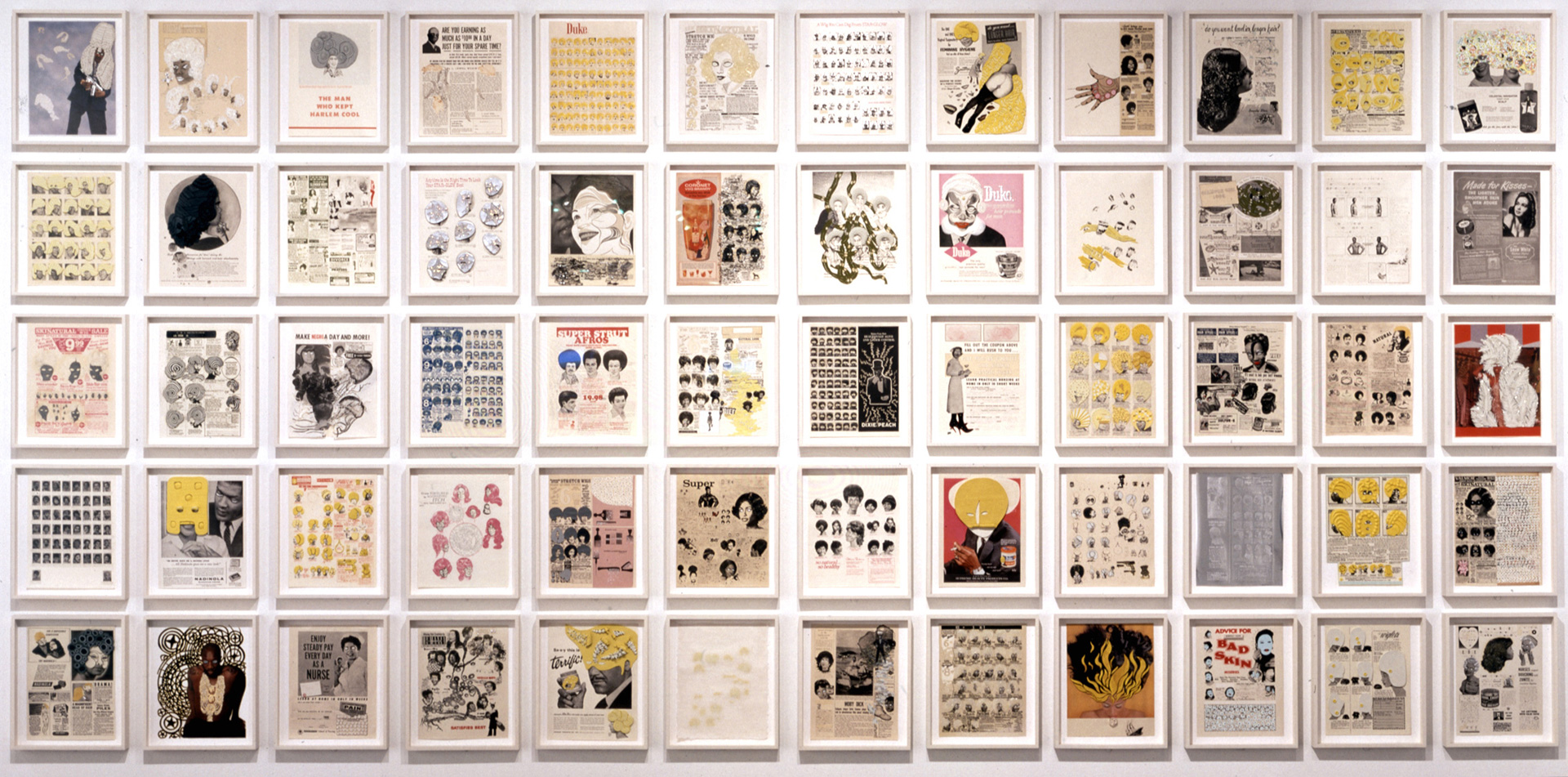 Ellen Gallagher - DeLuxe, 2004-2005, a portfolio of 60 printed objects with aquatint, dry-point, photogravure, spitbite, lithography, silkscreen, embossing, tattoo machine engraving, laser-cutting, collage, crystals, cut paper, enamel, glitter, gold leaf, gouache, graphite, oil, Plasticine