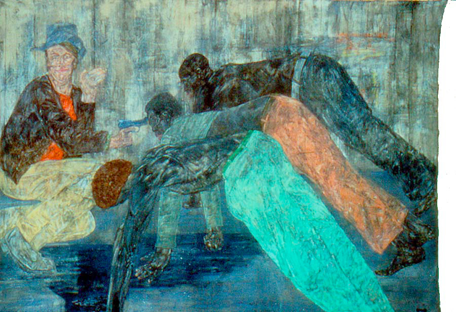 Leon Golub - Mercenaries V, 1984, acrylic on linen