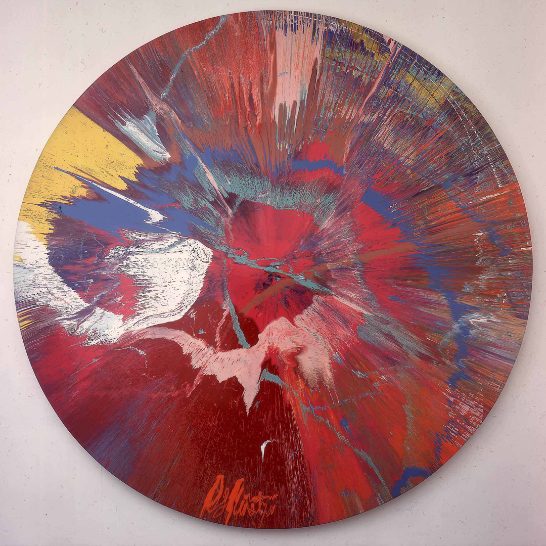 Damien Hirst - Beautiful, cataclysmic pink minty shifting horizon exploding star with ghostly presence, wide, broad painting, 2004, household gloss on canvas and electric motor