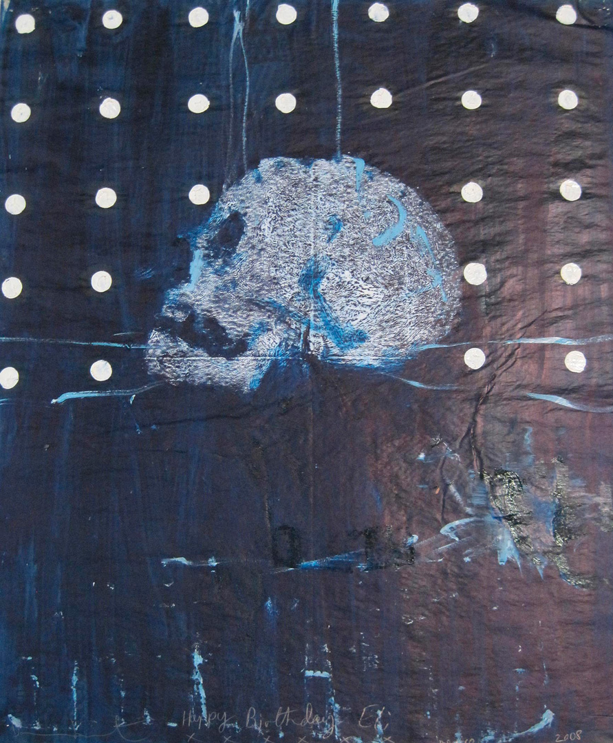 Damien Hirst - Half Skull at Rest, 2008, oil on newspaper