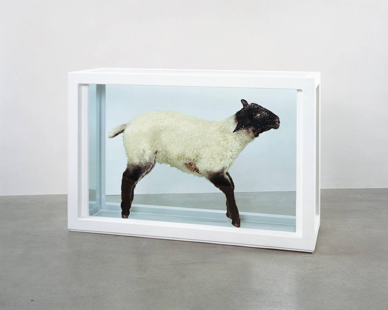 Damien Hirst - Away from the Flock, 1994, glass, painted steel, silicone, acrylic, plastic, lamb and formaldehyde solution