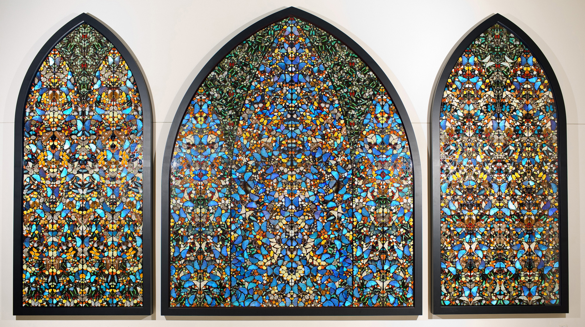 Damien Hirst - The Kingdom of the Father, 2007, butterflies and household gloss on three canvas panels