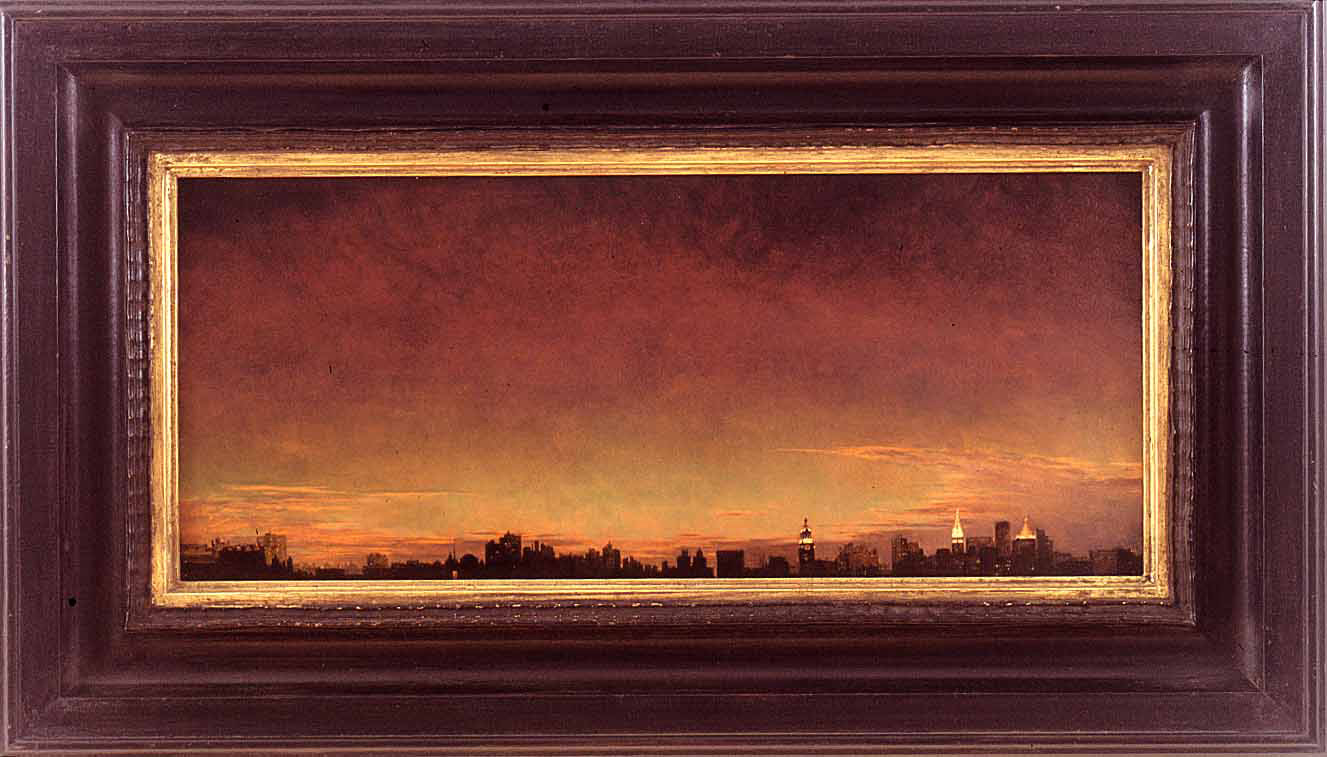 Mark Innerst - Daylight Savings (View from Manhattan minus the Empire State Building and The World Trade Center), 1986, oil on acrylic on board