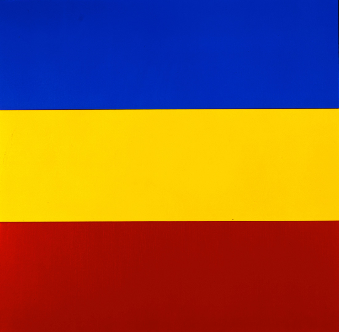 Ellsworth Kelly - Blue Yellow Red IV, 1972, oil on canvas, three joined panels