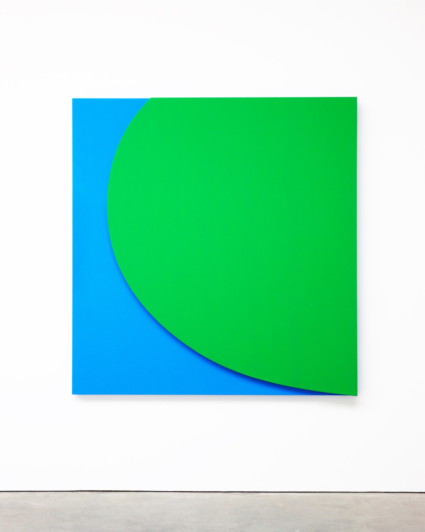 Ellsworth Kelly - Green Relief with Blue, 2011, oil on canvas, two joined panels