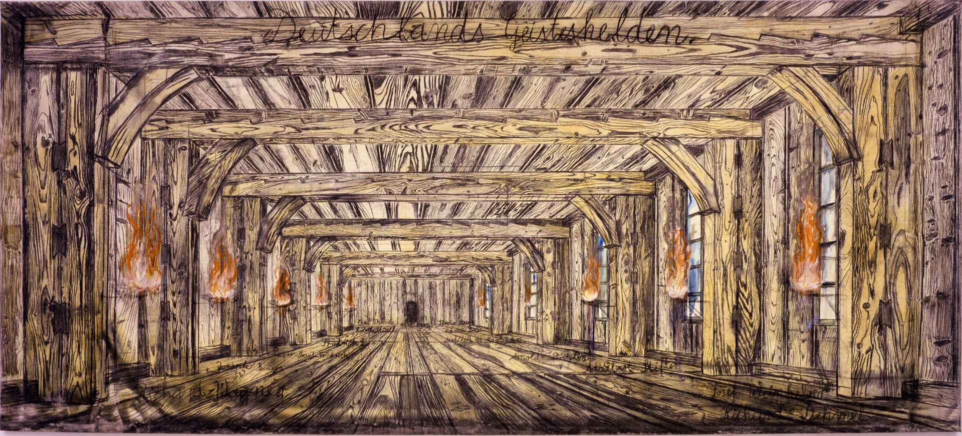 Anselm Kiefer - Deutschlands Geisteshelden, 1973, oil and charcoal on burlap mounted on canvas