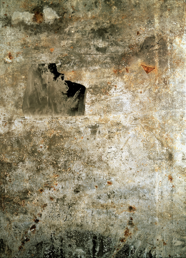 Anselm Kiefer - Für René Char, 1988, original photograph on treated lead in a glazed steel frame