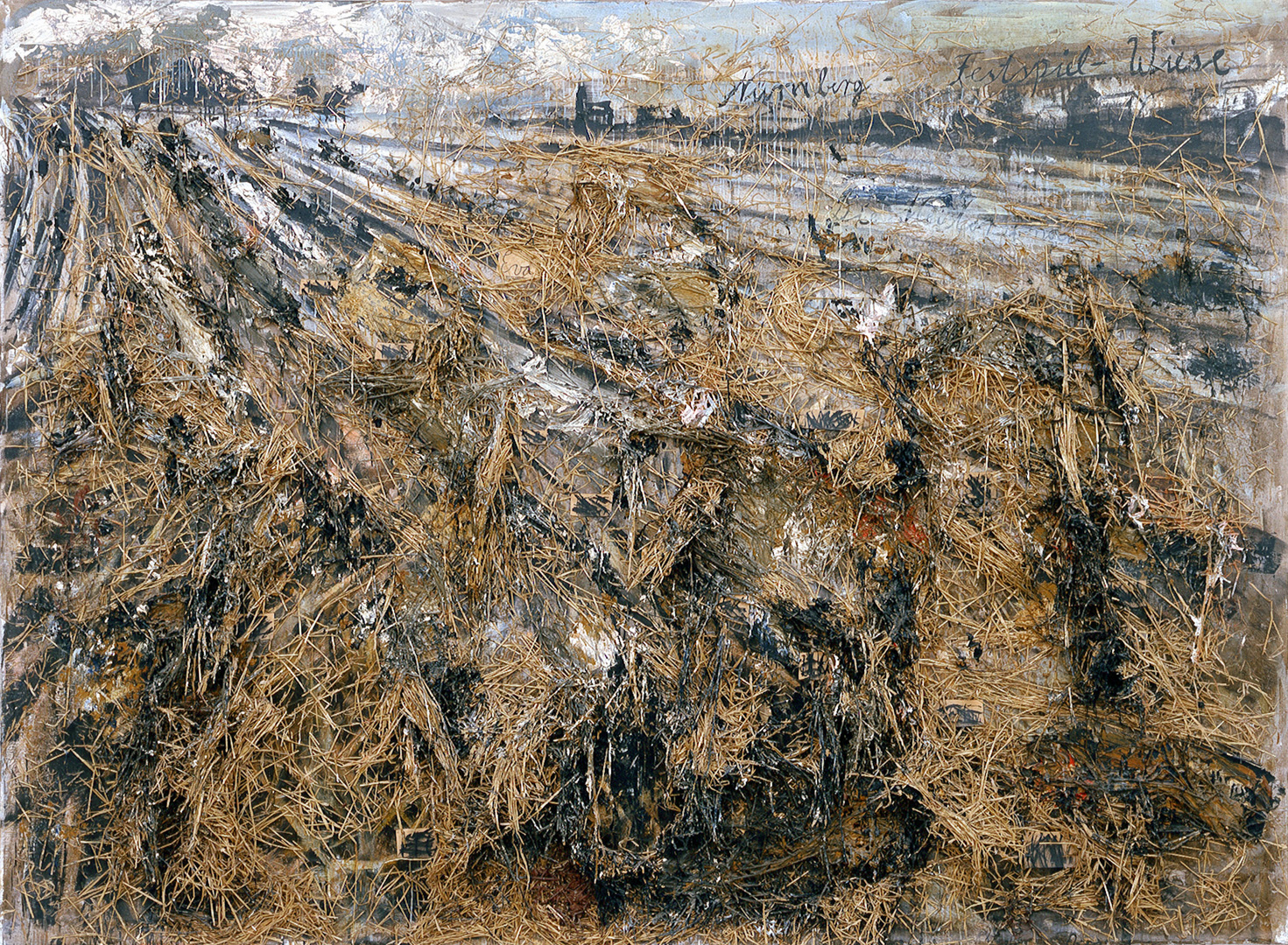 Anselm Kiefer - Nürnberg, 1982, oil, straw, and mixed media on canvas