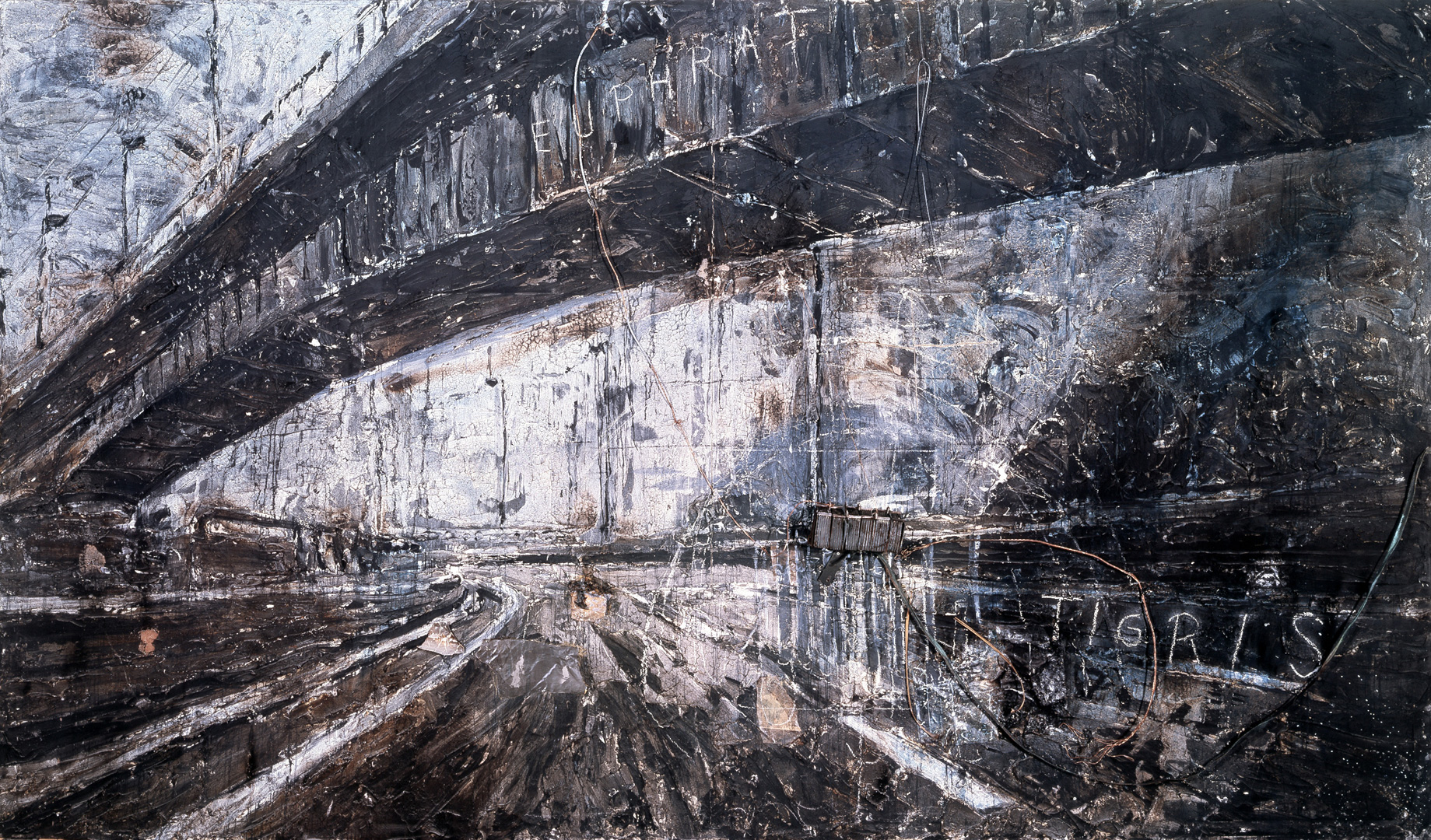 Anselm Kiefer - Zweistromland - The High Priestess, 1985-87, mixed media on two canvas panels with applied wire and metal object