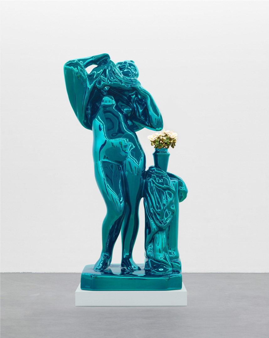 Jeff Koons - Metallic Venus, 2010 - 2012, mirror-polished stainless steel with transparent color coating and live flowering plants