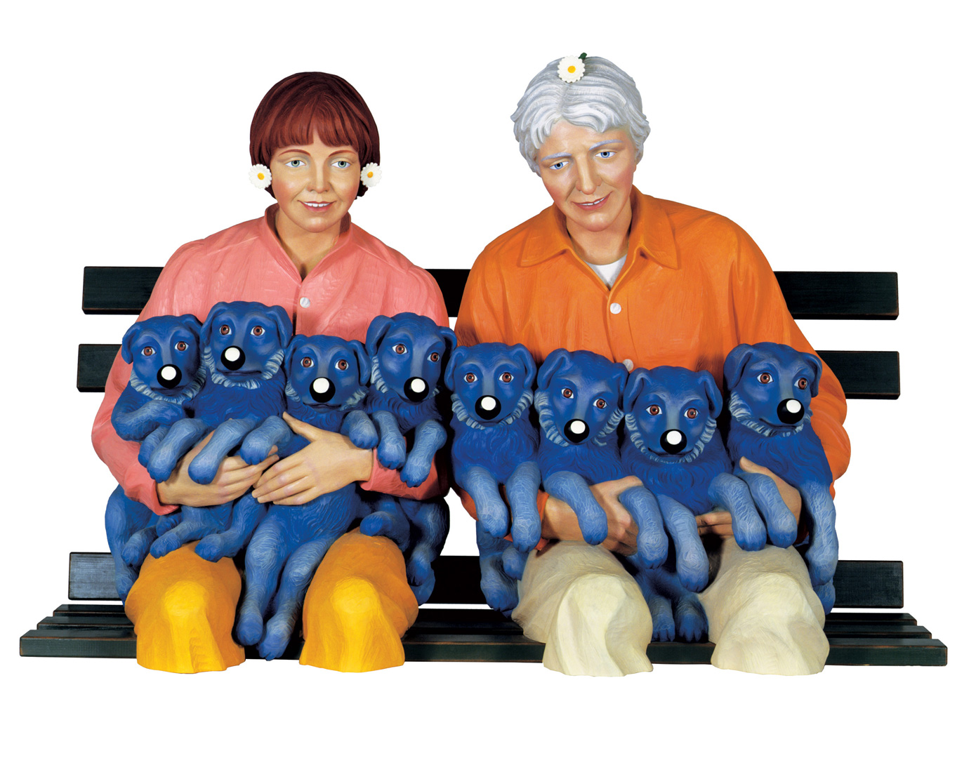 Jeff Koons - String of Puppies, 1988, polychromed wood