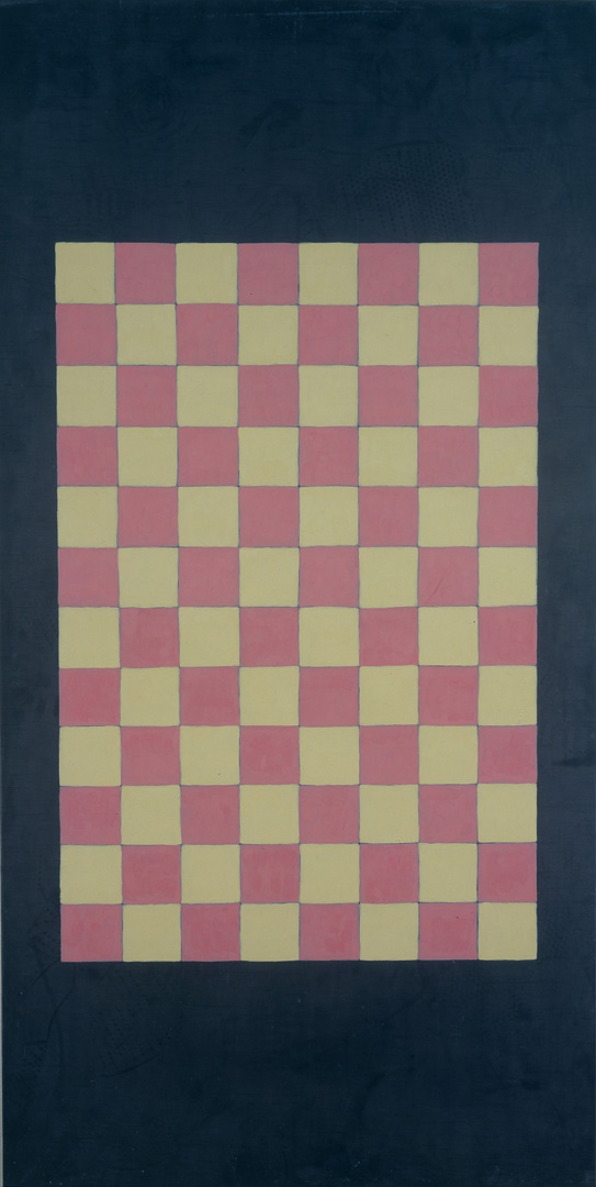 Sherrie Levine - Double Checks #6, 1988, oil on lead