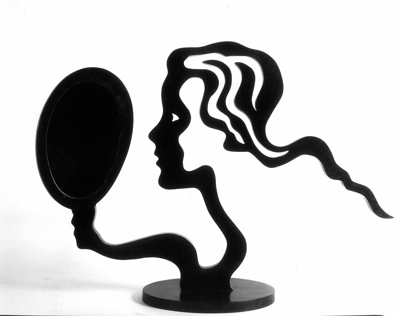 Roy Lichtenstein - Woman with Mirror, 1996, patinated bronze and mirror