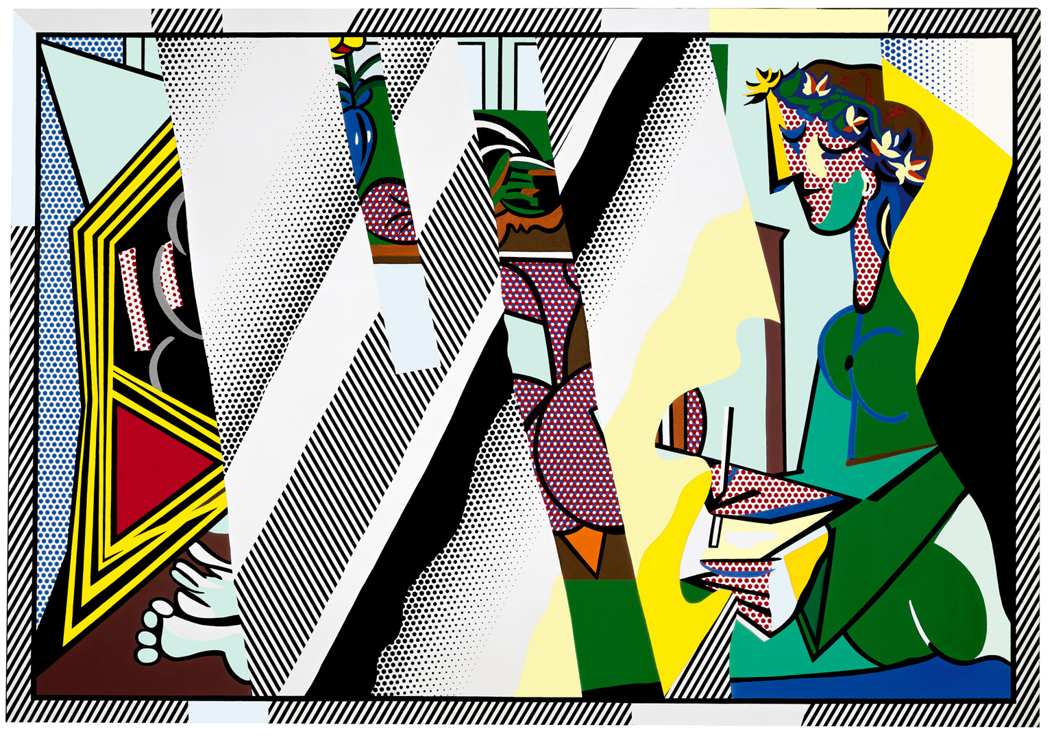 "Roy Lichtenstein - Reflections on ""Interior with Girl Drawing"", 1990, oil and Magna on canvas"
