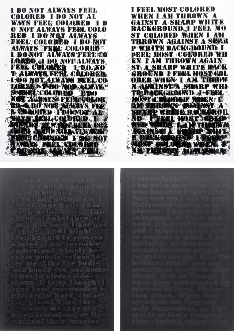 Glenn Ligon - Untitled: Four Etchings, 1992, four softground etching, aquatint, spit bite and sugarlifts on paper