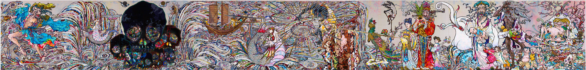 Takashi Murakami - In the Land of the Dead, Stepping on the Tail of a Rainbow, 2014, acrylic on canvas