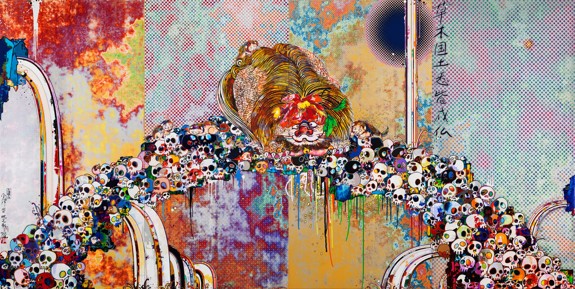 Takashi Murakami - Of Chinese Lions, Peonies, Skulls, And Fountains, 2011, acrylic on canvas stretched on wooden panel
