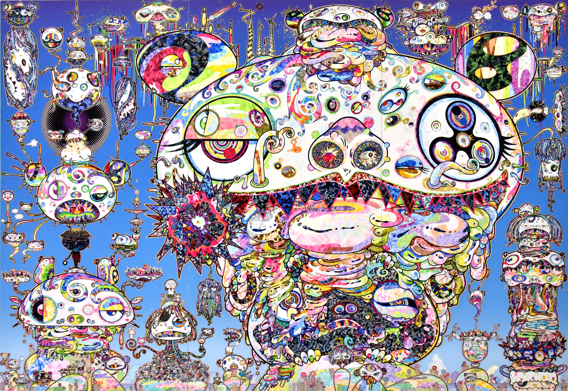 Takashi Murakami - Tan Tan Bo a.k.a Gerotan: Scorched by the Blaze in the Purgatory of Knowledge, 2018, acrylic on canvas mounted on board