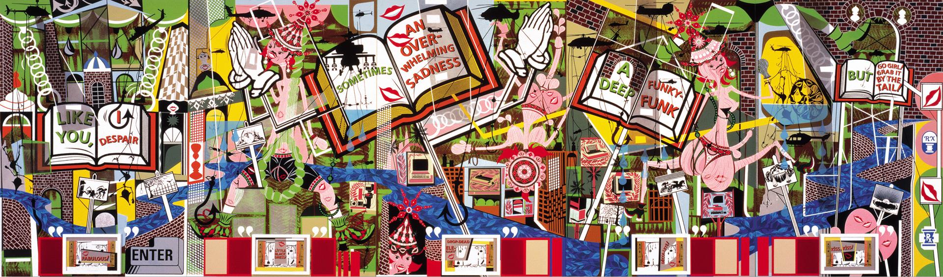 Lari Pittman - Like You, 1995, oil and enamel on five mahogany panels