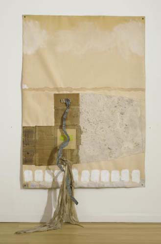 Robert Rauschenberg - Scripture II, 1974, acrylic, sand, graphite and collage on fabric laminated paper with grommets