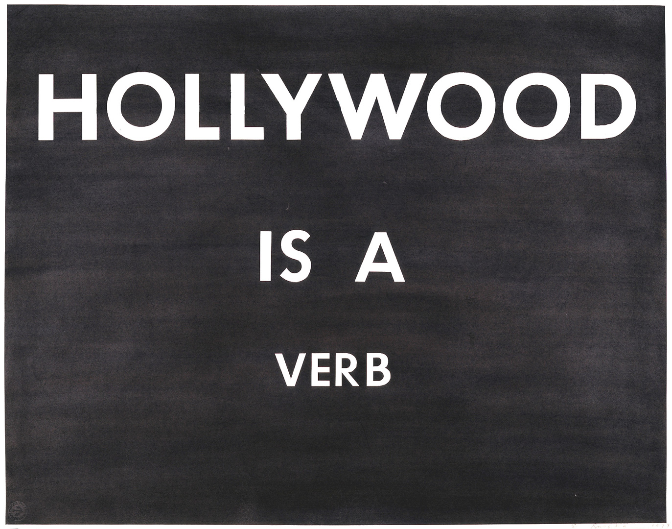 Ed Ruscha - HOLLYWOOD IS A VERB, 1979, pastel on paper