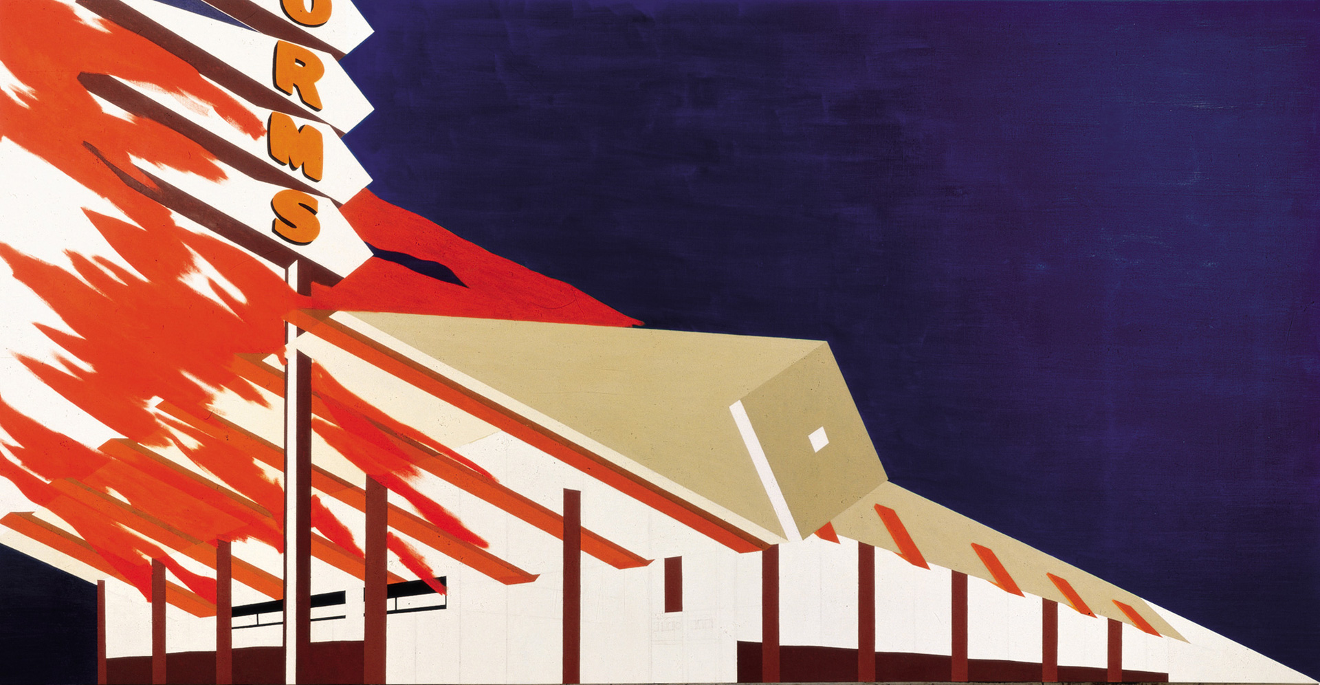 Ed Ruscha - Norm's, La Cienega, on Fire, 1964, oil and pencil on canvas
