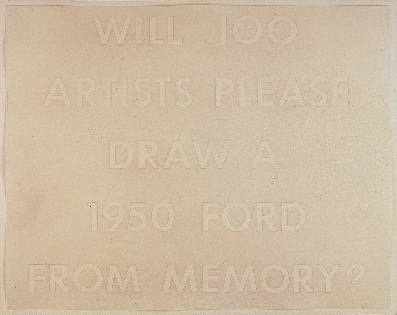 Ed Ruscha - WILL 100 ARTISTS PLEASE DRAW A 1950 FORD FROM MEMORY?, 1977, pastel on paper